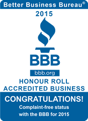 Better Business Bureau 2015 Honour Roll Accredited Business - Complaint-free status with the BBB for 2015
