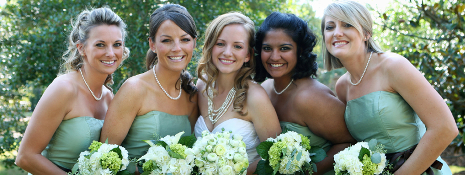 Bridal wedding party smiling